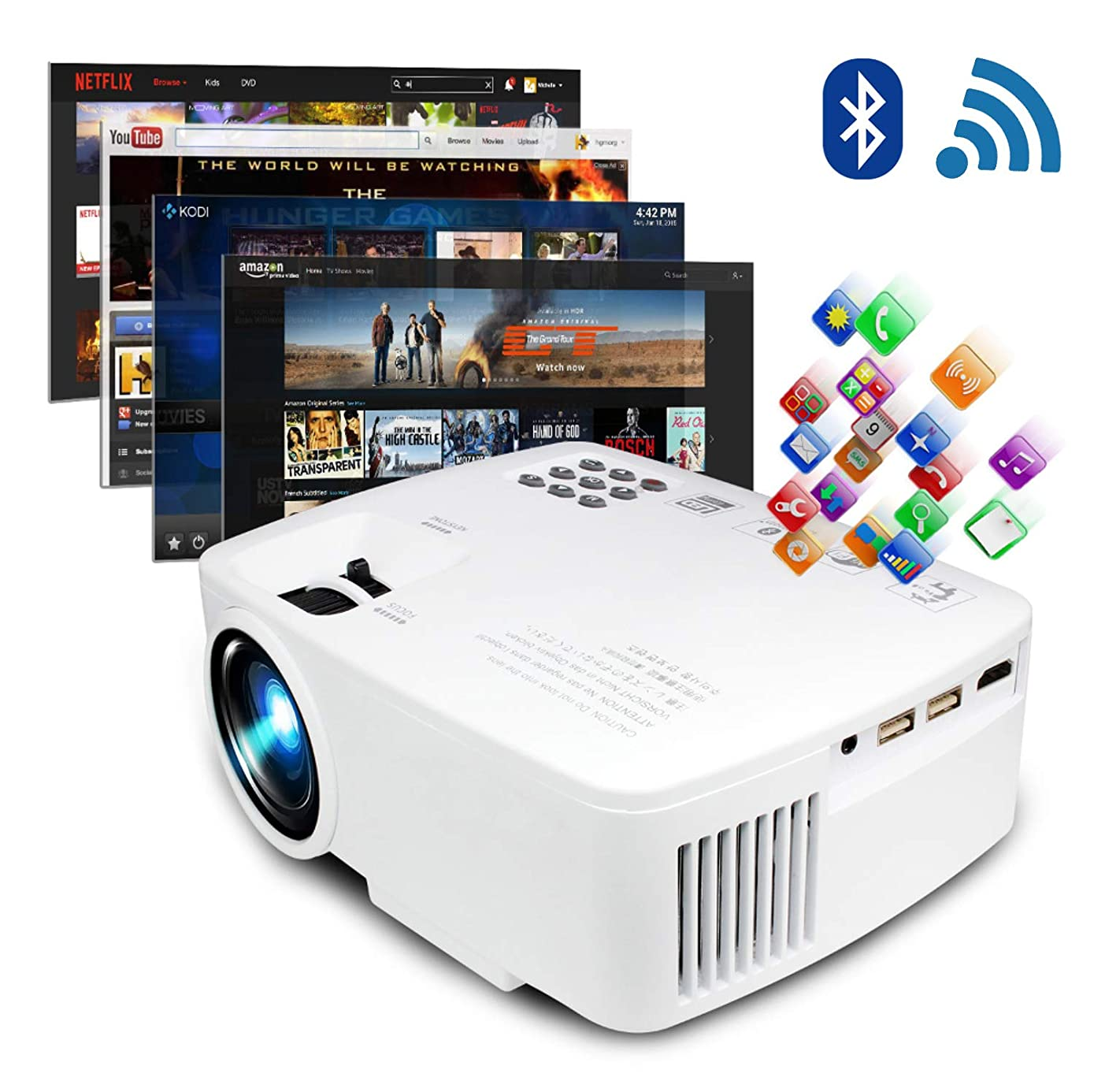 ERISAN Projector Video Home TV Theater, LED Android 6.0 WiFi Bluetooth, 220 ANSI Lumen, Support 1080P Full HD, iOS Compatiable, 2018 Updated Quieter Fan, Mini Smart Video Beam, Multimedia Party Games