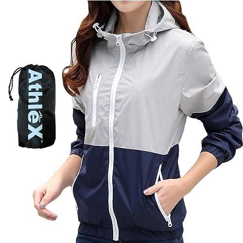 AthleX(アスレエックス) レディース ウインドブレーカー 女性 マウンテンパーカー ウィメンズ ナイロンジャケット 軽量 UV