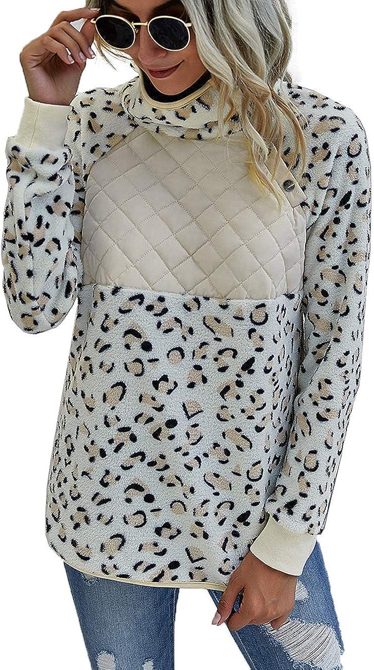 Famulily Women's Long Sleeve Asymmetrical Snap Neck Fleece Pullover Tops Sweater