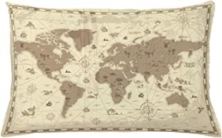 Map Throw Pillow Cushion Cover, Aged Retro Styled Map of The World with Mountains Fantasy Monsters and Compass, Decorative Rectangle Accent Pillow Case, 26