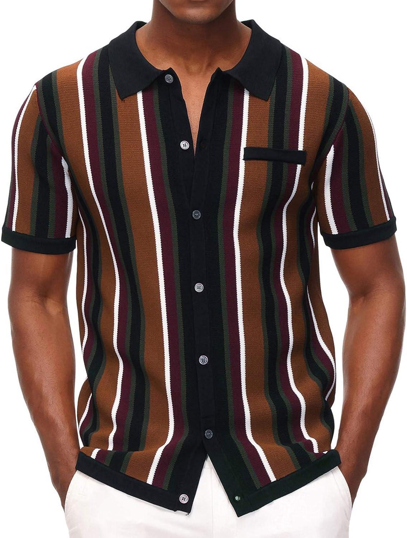 Men's Short Sleeve Knit Shirt Vintage Stripe Lapel Collar Polo Shirt