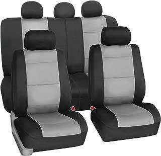 FH Group FB083115 Neoprene Waterproof Car Seat Covers, Pair Set Buckets Airbag Ready (Gray-fullset)