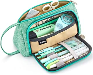 EASTHILL Big Capacity Pencil Pen Case Bag Pouch Holder Multi-Slot School Supplies for Middle High School Office College Girl Adult Simple Large Storage Mint Green
