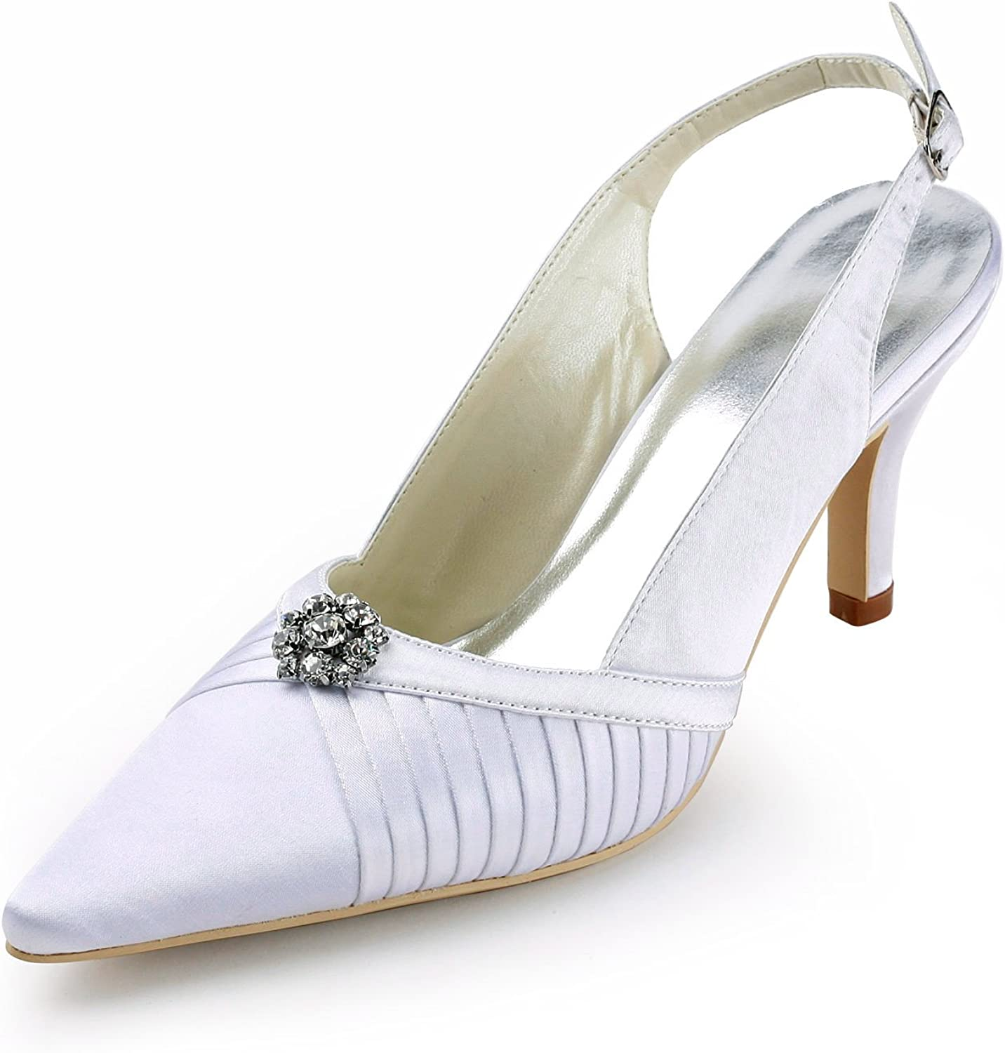 Zioso TMZ338 Women's Slingback Satin Bridal Wedding Evening Formal Party Pumps shoes