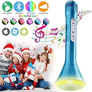 Karaoke Microphone for Kids, Kids Microphone Bluetooth With Speaker Wireless Echo Child Karaoke Mic Portable Cordless Singing Machine for Music Boys Girls Adult Party Gift Andriod IOS Phones (Blue)