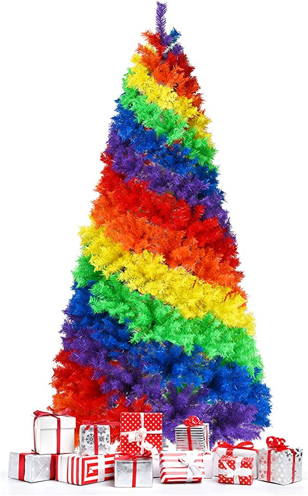 Goplus albero di natale 210 cm, 1213 rami, aghi in pvc, abete artificiale colorato con base solida di metallo Multicolore