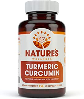 1600mg Organic Turmeric Curcumin w/Bioperine and Black Pepper | Non-GMO | Natural Pain Relief & Joint Support | Highest Potency with 95% Standardized Curcuminoids | Gluten Free | 120 Vegetarian Caps
