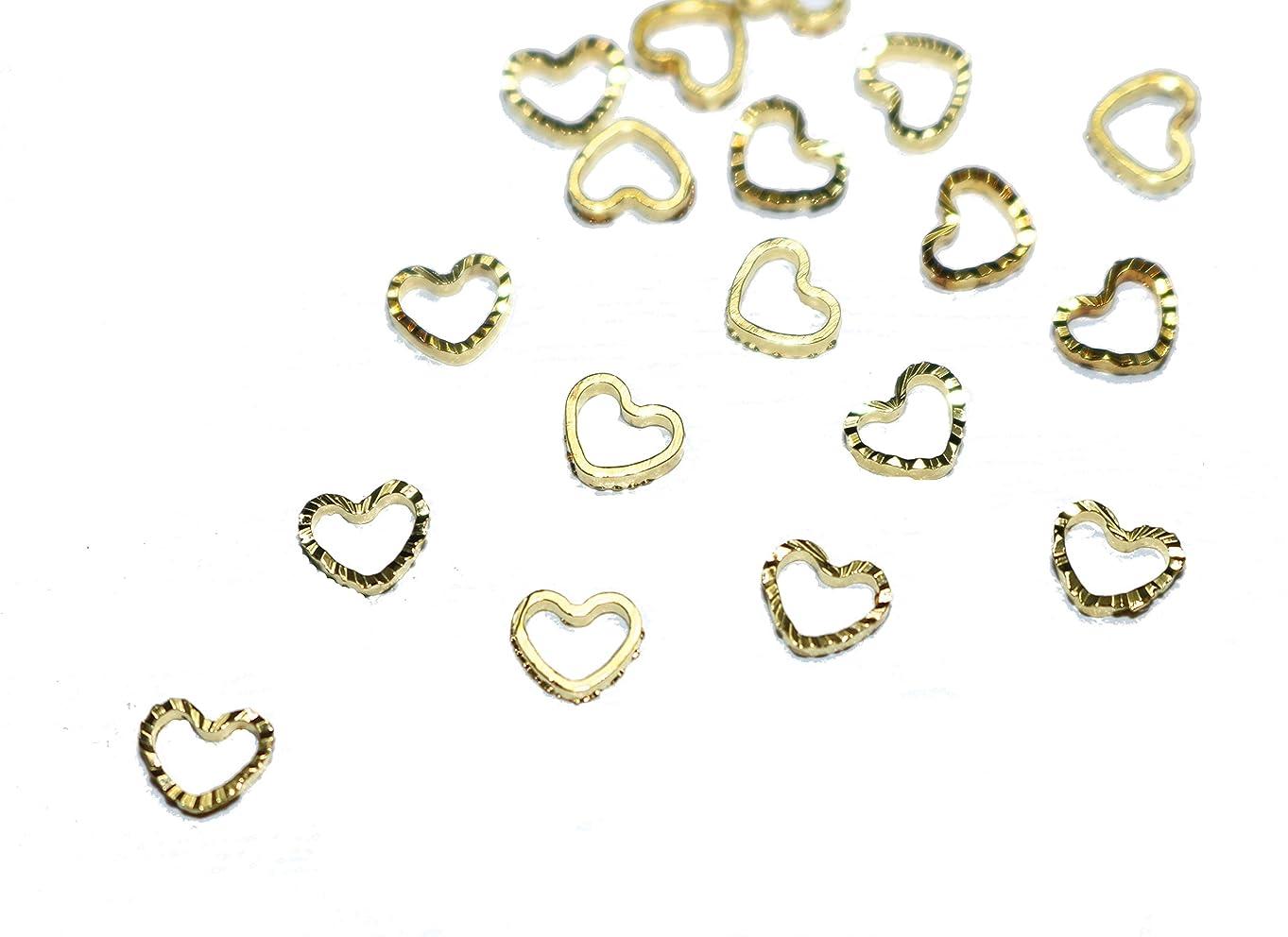 最大限国法律【jewel】ゴールド 立体メタルパーツ 10個入り ハート 型 直径4mm 幅5mm 厚み1mm 手芸 材料 レジン ネイルアート パーツ 素材