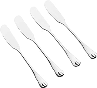 DOWAN Stainless Steel Dinner Butter Knives, Butter Spreader Knife with Scalloped Edge, Set of 4 Cheese Knife