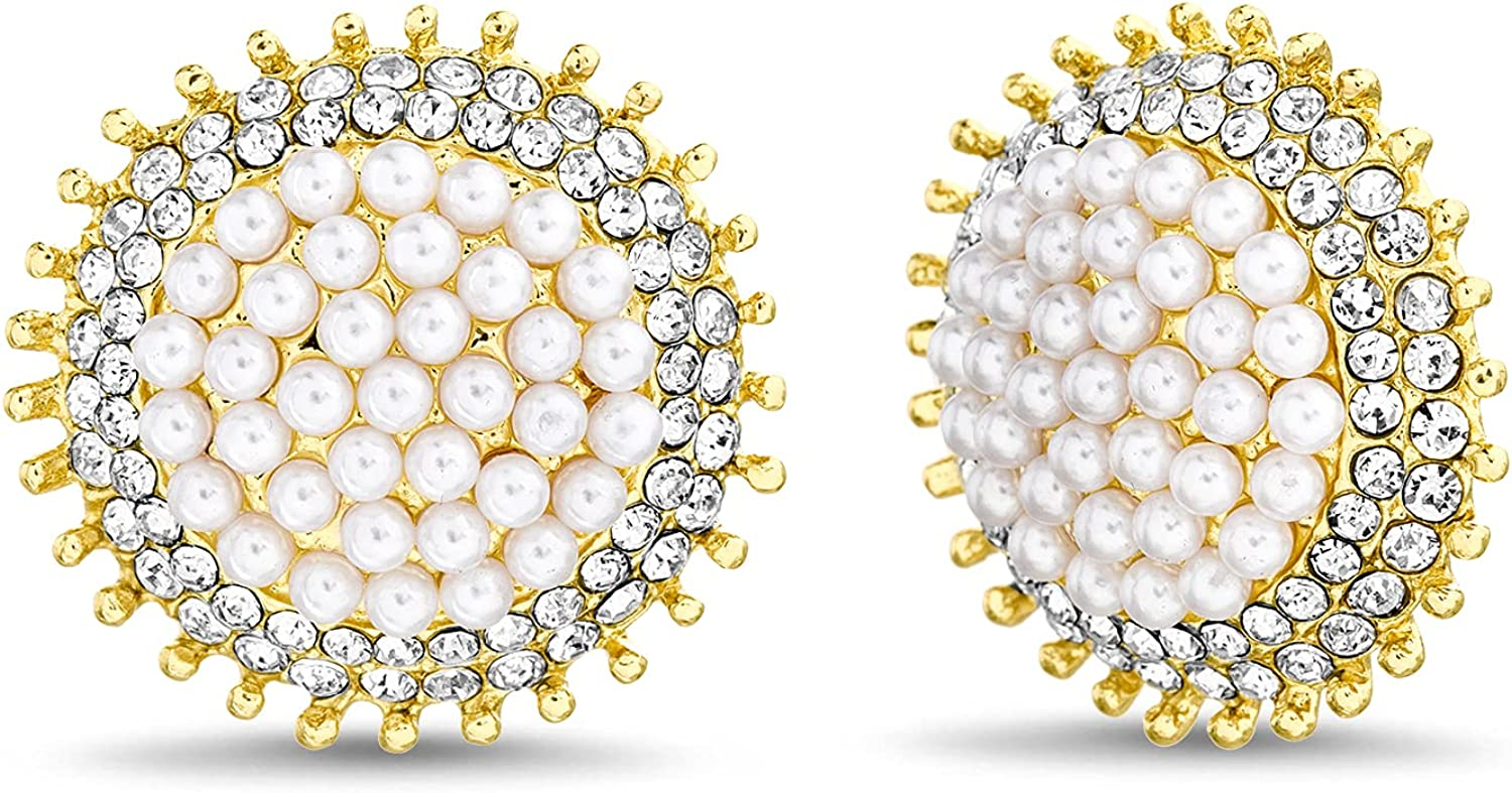 Badgley Mischka Yellow Beaded Rhinestone Simulated Pearl Round Stud Clip On Earrings for Women