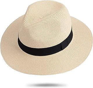 Faletony Sombrero Panam/á ala Ancha Sombrero de Paja Fedora Verano Playa Sun Sombreros para Mujeres Hombres