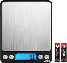 مقیاس آشپزخانه دیجیتال AMIR ، مقیاس پخت جیبی 0.01g 0.01oz / 0.1g ، مقیاس کوتاه مواد غذایی ، مقیاس جواهرات حرفه ای با نمایشگر LCD با کیفیت بالا ، کارکرد Tare و PCS ، فولاد ضد زنگ ، باتری ها (سیاه)