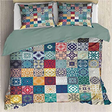 prunushome Moroccan Three-Piece Bed Duvet Cover Patchwork-Pattern-with-Different-Colorful-Arabic-Figures-Original-Tunisian-Ar