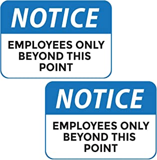 """Employees Only Sign- Employees Only Beyond This Point Sign, 10"""" x 7"""", 2 Pack, Durable, Self-Adhesive"""
