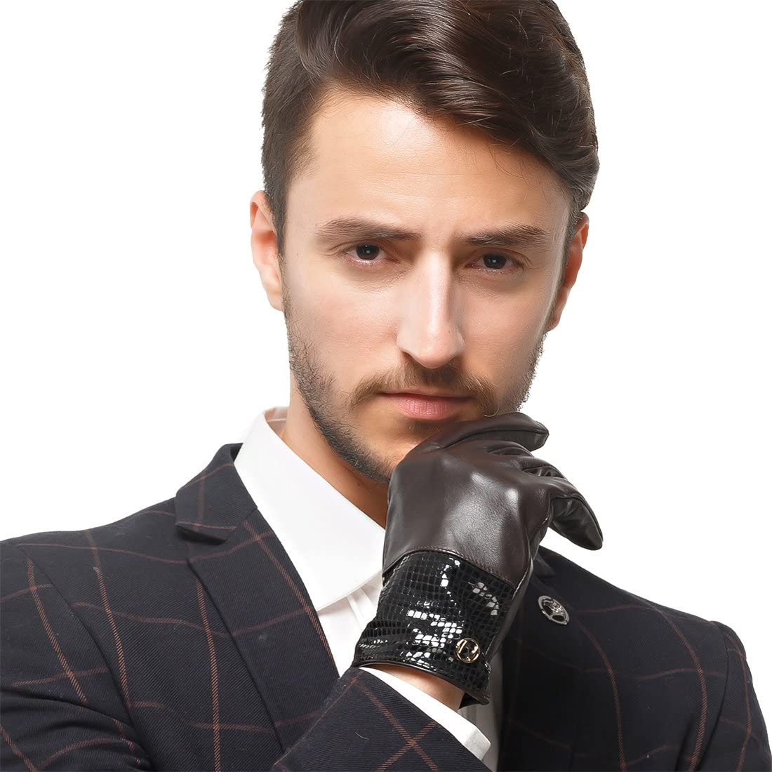 Nappaglo Men's Genuine Lambskin Leather Gloves Nappa Leather Touchscreen Autumn Winter Business Mittens