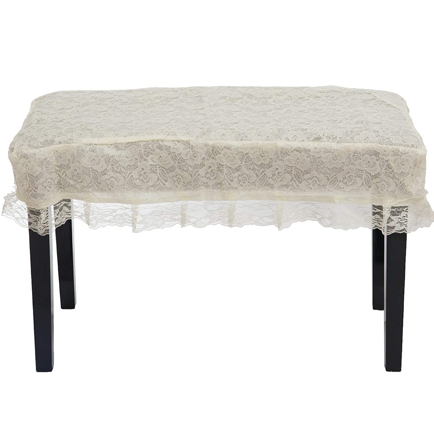 JOKHOO Universal Lace Piano Stool Chair Bench Cover (7636, White)