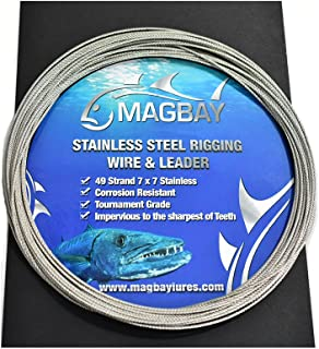 MagBay Lures 49 Strand Cable 7x7 Stainless Steel Fishing Wire Leader Kit w/10 crimps - 30ft 280 lbs