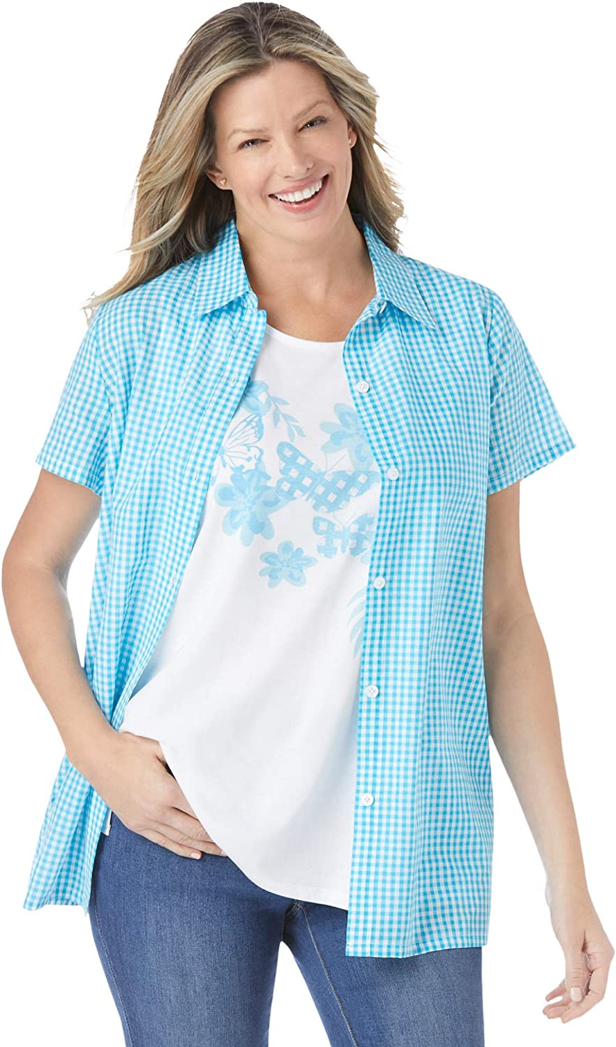 Woman Within Women's Plus Size 2-in-1 Layer-Look Shirt