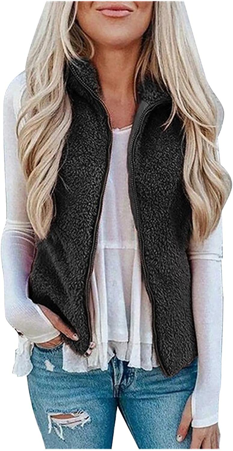 New Free Shipping Great interest Women's Thick Fuzzy Windproof Vests Outwe Plush Lapel Sleeveless
