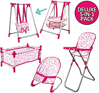 deAO Childrens 5 in 1 Baby Doll Pretend Role Play Set with Folding Cot Bed, Bouncer,Cradle,Swing Seat and High Chair Accessories (Doll Not Included)