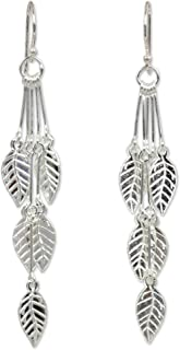 NOVICA .925 Sterling Silver Leaf-Shaped Dangle Earrings, Leaf Chimes'