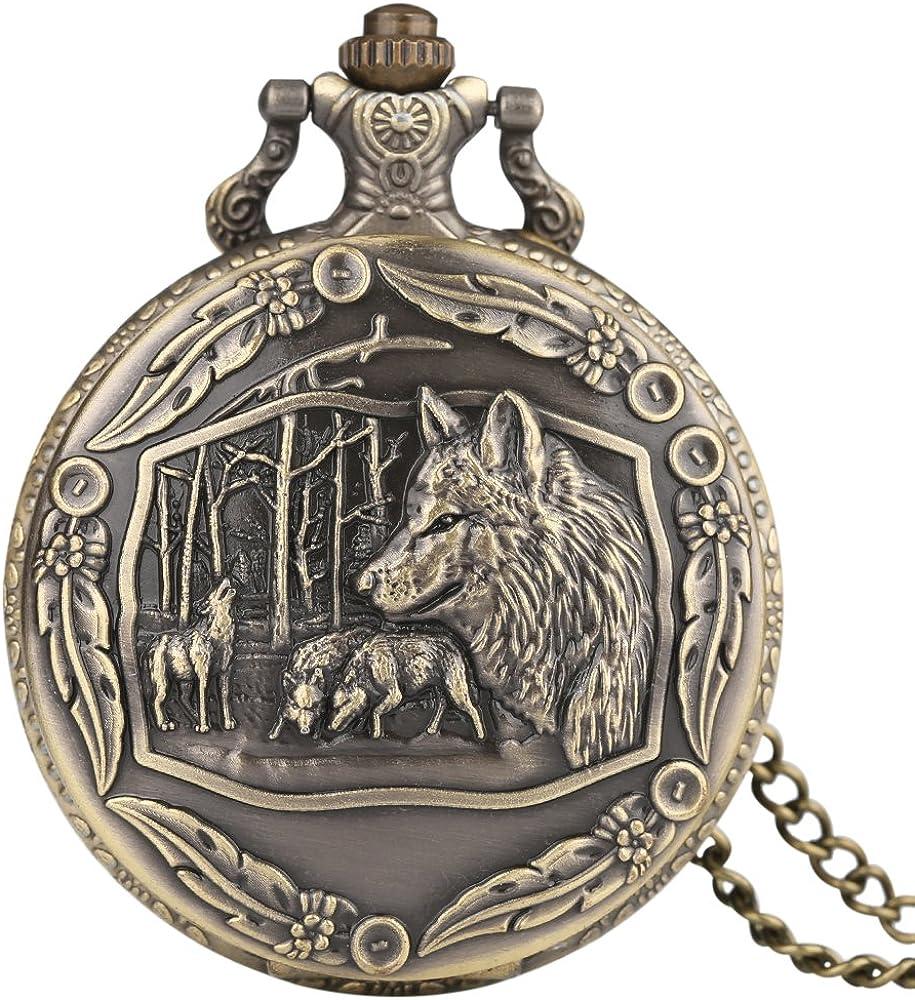 Big Wolf - Reloj de bolsillo para hombre, diseño de lobo, cuarzo, ideal como regalo para hombres