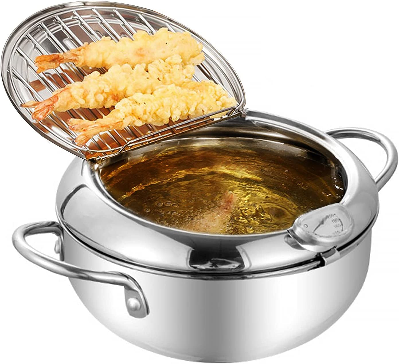 OitiO Tempura Deep Fryer Pot, 304 Stainless Steel Japanese Style Fryer Pan, with Temperature Control, Lid and Oil Filter Rack, Kitchen Cooking Frying Pot (9.4'')