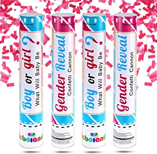 Pink Gender Reveal Confetti Cannon Popper 4 Pack 12 Inch Biodegradable Confetti Compressed Air Launcher for Baby Girl Gend...