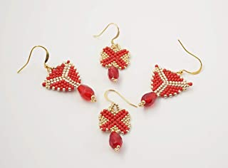 2 paia di orecchini tessitura perline pendenti a goccia rossi e oro, regalino amica
