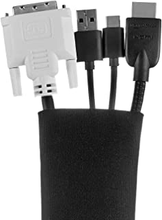 AmazonBasics Wire Cable Management Sleeve Cover - Zipper, 20-Inch, Black, 4-Pack