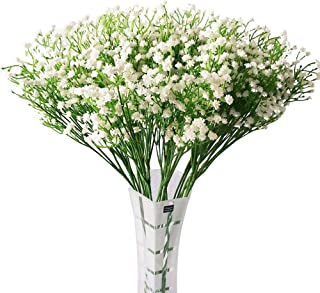 """HANTAJANSS 12 pcs Baby Breath Gypsophila Artificial Flowers Bouquets Fake Real Touch Flowers for Wedding Party Decoration DIY Home Decor 21"""" White"""