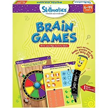 Skillmatics Educational Game: Brain Games (6-99 Years) / Erasable and Reusable Activity Mats / Toy with Marker / Learning Tools for Kids 6, 7, 8, 9 Years and Up