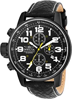 Invicta Mens 3332 Force Collection Stainless Steel Left-Handed Watch with Black Leather Band