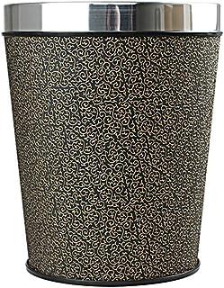 C-J-Xin Creative Vintage Trash Can, Hotel Kitchen Bathroom Household Round Plastic Trash Can PU Trash Can Trash & Recyclin...