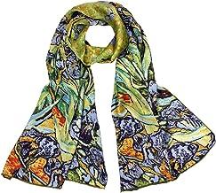 Dahlia Women`s 100% Luxury Long Silk Scarf - Van Gogh`s Art Collection