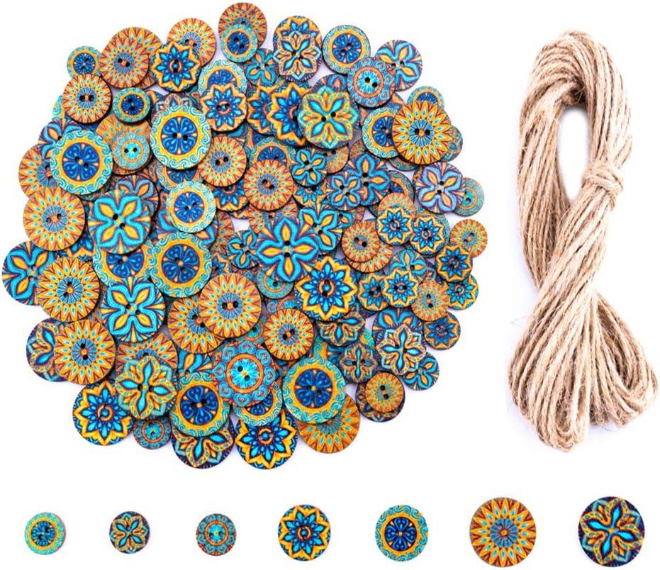 150 Pieces Mix Wood Buttons, 2 Holes Round Flower Buttons Vintag