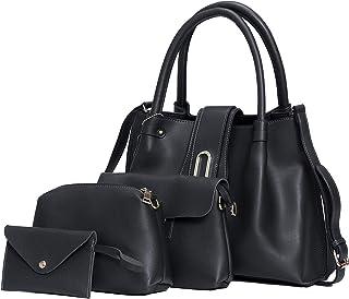 Women's Totes,Handbag for Women,Set 4pcs Women's Bag PU Leather Crossbody Bag,Ladies Travel Bag Labtop Handbags Shoulder b...