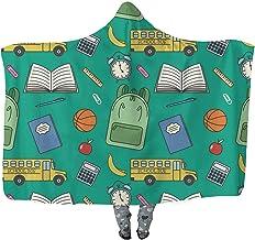 Hooded Blanket 130x150cm Wearable Blanket Vector Cartoon Retro Seamless Back to School Pattern with Simple Shapes of School Bus Wearable Blanket Adult Women Men Kids Wearable Blanket Notebook