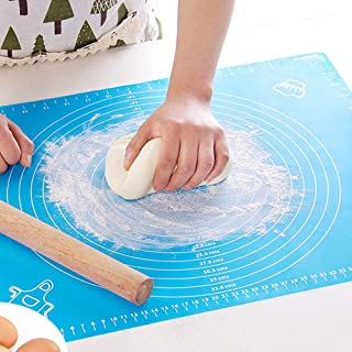 Silicone Pastry Mat with Measurements, MOKOSS Large Silicone Baking Mats for Rolling Dough, Easy to Clean