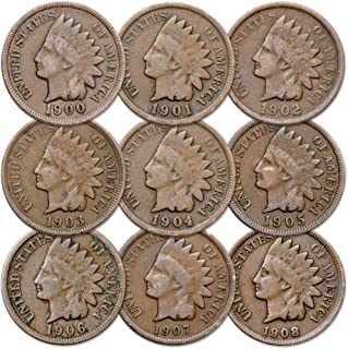 1900-1908 1c Indian Head Cent 9-Coin Set Circulated