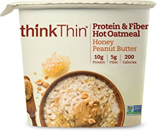 think! (thinThin) Protein & Fiber Hot Oatmeal - Honey Peanut Butter, 10g Protein, 5g Fiber, Non GMO Project Verified, 1.76oz cup (6 Cups)