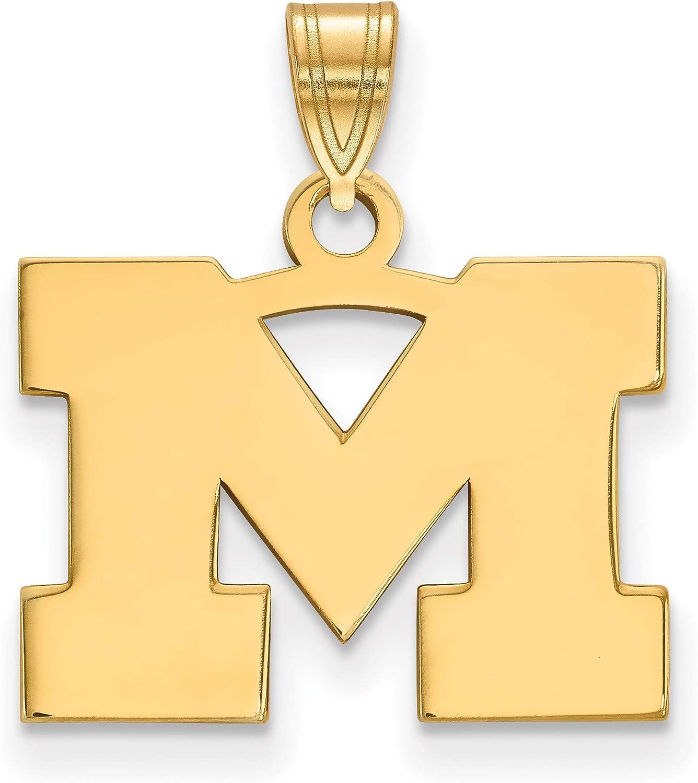 Yellow Sterling Silver Charm Pendant Michigan NCAA State University 18 mm 11