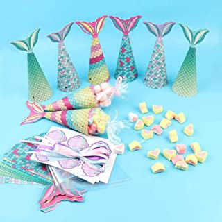 OurWarm 48Pcs Mermaid Party Boxes Favors Mermaid Party Treat Bags with Shell Stickers for Kids Birthday Baby Shower Decora...