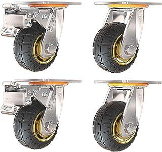 100 mm zwaar uitgevoerd transportwiel voor trolley, 4-delig dragende 400 kg, stille rubberen industri毛le zwenkwielen, opti...