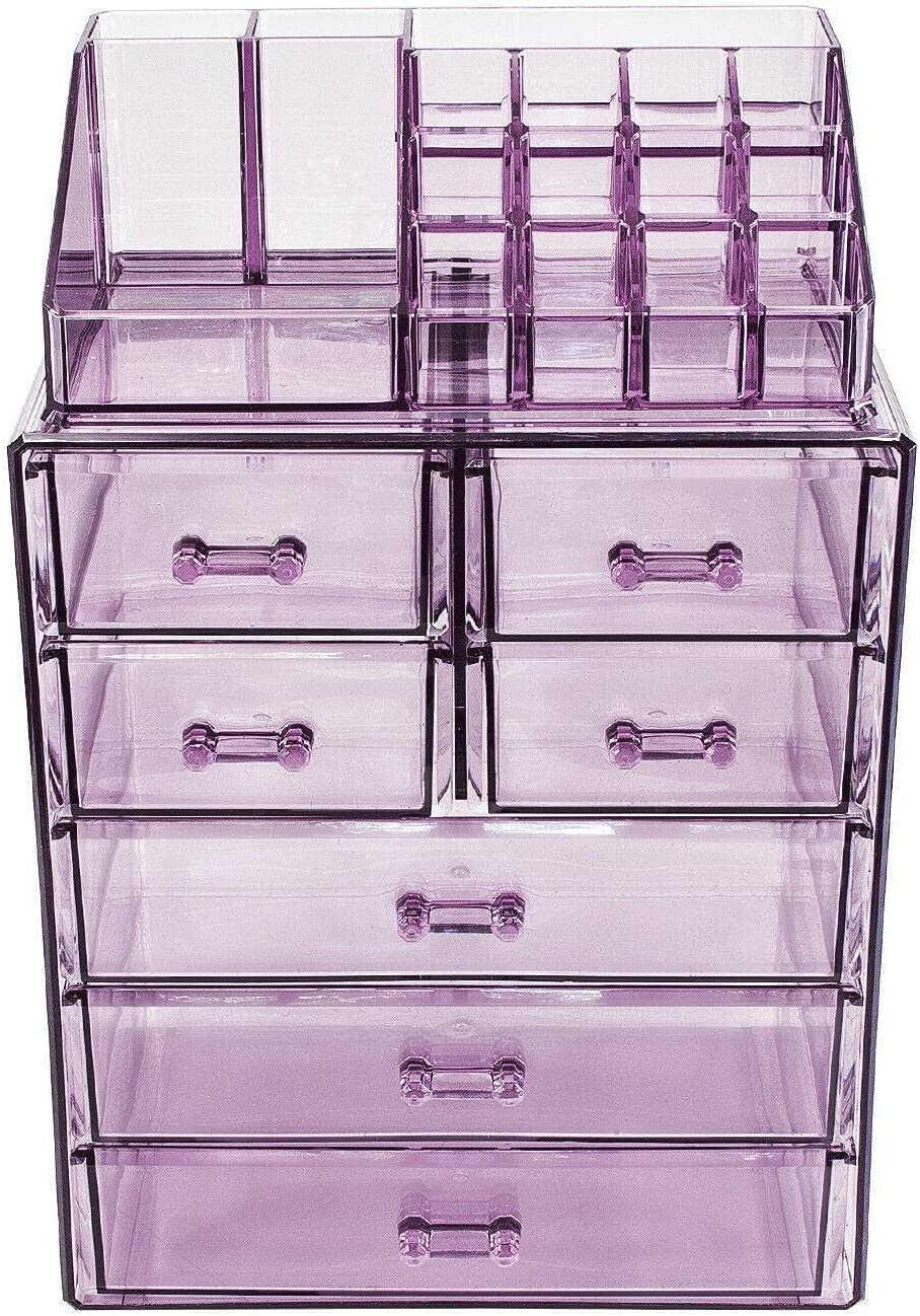 Acrylic Cosmetic Makeup and Jewelry Easy-to-use Display Max 47% OFF Case - Purpl Storage