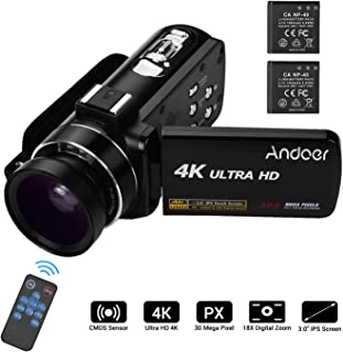 Video Camera 4K Camcorder, Andoer Ultra HD Professional Digital Video Camera CMOS Sensor Camcorder with 0.45X Wide Angle L...