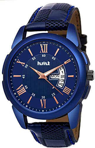 Blue Dial Date N Day Display Blue Leather Strap Analogue Wrist Watch For Men