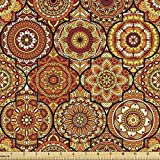 Ambesonne Moroccan Fabric by The Yard, Vintage Hand Drawn Style Ottoman Trellis Floral Motifs, Decorative Fabric for Upholstery and Home Accents, 1 Yard, Orange Yellow