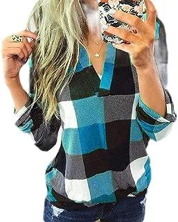 Macondoo Women's Casual Long Sleeve Checkered V Neck T Shirt Blouse Shirts