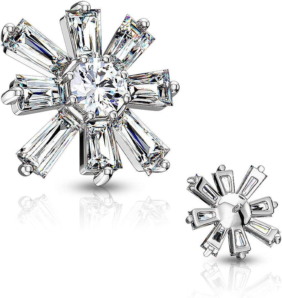 CZ Crystal Centered Award Princess Dermal discount Flower Anchor Cut